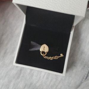 Pandora 14k gold lock and key charm